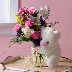 Flowers and a Bear